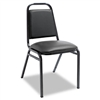 Alera Upholstered Stacking Chairs w/Square Back, Black