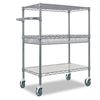 Alera Three-Tier Rolling Cart, 3-Shelf, 30 x 18 x 40, B