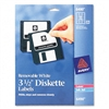 Avery Laser/Inkjet Removable 3.5in Diskette Labels, Whi