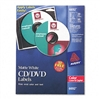 Avery CD/DVD Color Laser Labels, White Matte, 30/Pack #