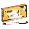 BIC Clic Stic Retractable Ballpoint Pen, Black Ink, Med