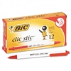 BIC Clic Stic Retractable Ballpoint Pen, Red Ink, Mediu