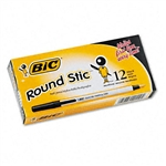 BIC Round Stic Ballpoint Pen, Black Ink, Medium,1.0 mm
