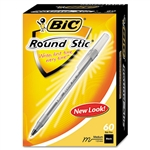 BIC Round Stic Ballpoint Pen, Translucent Barrel, Black