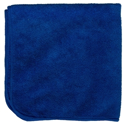 Premium Microfiber Cleaning Cloths, 49 Grams per Cloth, Blue, 16x16, Pack of 12