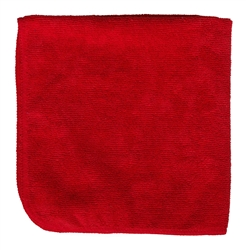 Premium Microfiber Cleaning Cloths, 49 Grams per Cloth, Red, 16x16, Pack of 12