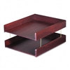 Carver Hardwood Double Letter Desk Tray, Two-Tier, Maho