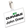 Durable Click-Fold Convex Name Badge Holder, Strap Clip