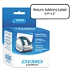 DYMO Return Address Labels, 2 x 3/4, White, 500/Box # D