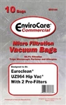 Euroclean UZ964 HipVac Replacement Vacuum Bags, 10PK with 2 Pre-Filters, Envirocare