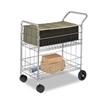 Fellowes Wire Mail Cart, 22-1/4 x 38-1/2 x 39-1/4, Chro