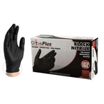 Ammex GlovePlus Medium, Black Nitrile Industrial Latex Free Disposable Gloves (Case of 1000) (Black) (Case), GPNB44