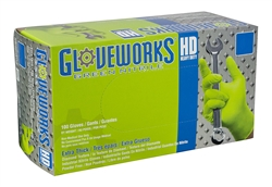 AMMEX GWGN- AMMEX Gloveworks HD Green Nitrile Powder Free Industrial Gloves 8mil (100gloves/10boxes)