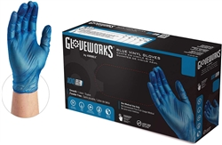 AMMEX Gloveplus Powder Free Blue Vinyl Disposable Gloves IVBPF 5mil - Small - Case of 1000