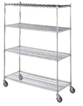 Linen Cart 18x48 w/4 Wire Shelves, # LC184872