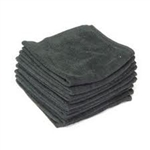 Microfiber Terry Cleaning Cloths 16x16 Black- Pack of 48