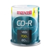Maxell CD-R Discs, 700MB/80min, 48x, Spindle, Silver, 1