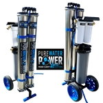 "Pure Water Power 4-Stage RODI Water Purification System, Dual RO, 20"" DI, PWP-CART-DRO-20SE"