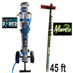 Pure Water Power 4-Stage RODI Cart & 45 ft Mamba Kevlar Hi-Mod CF Waterfed Pole Package, PWP-PD-4