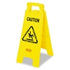 Rubbermaid Multilingual Caution Floor Sign, Plastic,