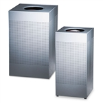 Rubbermaid® Commercial Designer Line Silhouettes Receptacle, Steel, 16 gal, Silver Metallic # RCPSC14EPLSM