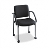 Safco Moto Stacking Chairs, Black Fabric Upholstery, 2/