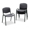 Safco Contour Stacking Chairs, Black w/Black Frame, 4/C