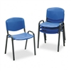 Safco Contour Stacking Chairs, Blue w/Black Frame, 4/Ca