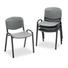 Safco Contour Stacking Chairs, Charcoal w/Black Frame,