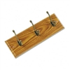 Safco Wall Rack, Three Double-Hooks, Wood, Medium Oak #