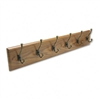 Safco Wall Rack, Six Double-Hooks, Wood, Medium Oak # S
