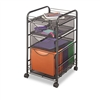 Safco Onyx Mesh Mobile File w/Two Supply Drawers, 15-1/