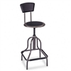 Safco Diesel Industrial Stool w/Back, High Base, Black