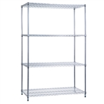 R&B Wire Shelving Unit 18x36x72 (w/o Casters), 4 Wire Shelves