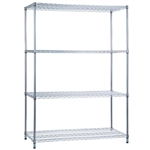 R&B Wire Shelving Unit 24x36x72 (w/o Casters), 4 Wire Shelves