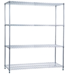 R&B Wire Shelving Unit 24x60x72 (w/o Casters), 4 Wire Shelves