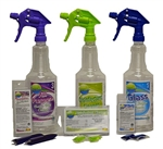 Glass Cleaner, Disinfectant, and Multi-Purpose Cleaner Kit, Makes 6 Quarts (Bottles Included)