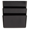 Universal Recycled Wall File, 3 Pockets, Plastic, Black