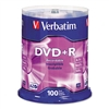 Verbatim DVD+R Discs, 4.7GB, 16x, Spindle, 100/Pack # V