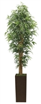 Laura Ashley 7 Foot Tall High End Realistic Silk Bamboo Tree with Brown and Bronze Wood Planter