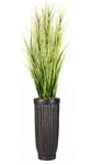 Laura Ashley 7 Foot Tall High End Realistic Silk Grass Floor Plant with Contemporary Planter