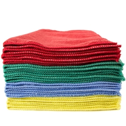 Premium Microfiber Cleaning Cloths, 320 GSM, 49 Grams per Cloth, 16x16, Case of 144, Red, Blue, Yellow, Green