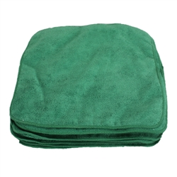 Premium Microfiber Cleaning Cloths, 49 Grams per Cloth, Green, 12x12, Pack of 12