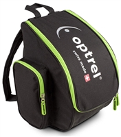 Optrel black helmet backpack with green stripes and Optrel logos