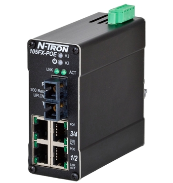 N-Tron 105FX Industrial PoE Ethernet Switch