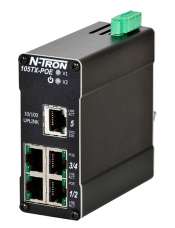 N-Tron 5 Port Industrial PoE Ethernet Switch - 105TX-POE