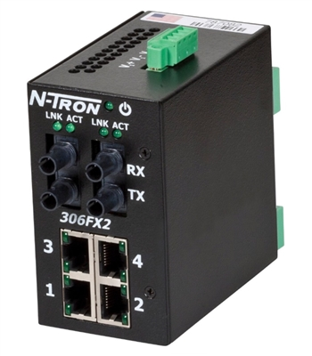 N-Tron Industrial Ethernet Switch with Singlemode Fiber Cable