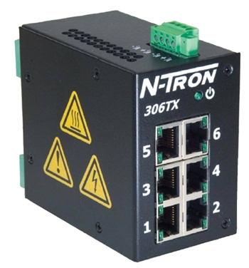 N-Tron 6 Port Industrial Ethernet Switch w/ N-View OPC Server - 306TX-N