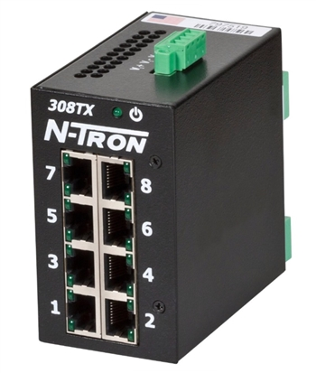 N-Tron 8 Port Industrial Network Switch w/ N-View OPC Server - 308TX-N