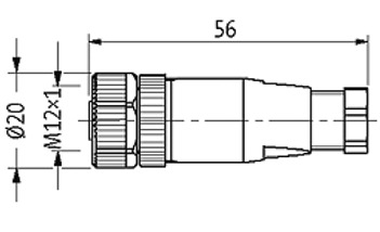 murr 12921 m12 5 pole female connector